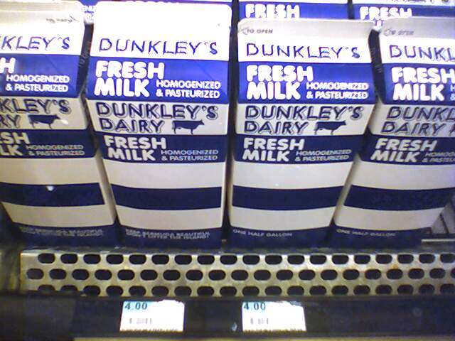 MILK: $4 / PER HALF GALLON